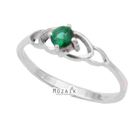 Ezüst Gyűrű Zöld Kristálykövekkel