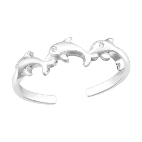 Sterling Ezüst Gyűrű Delfinekkel