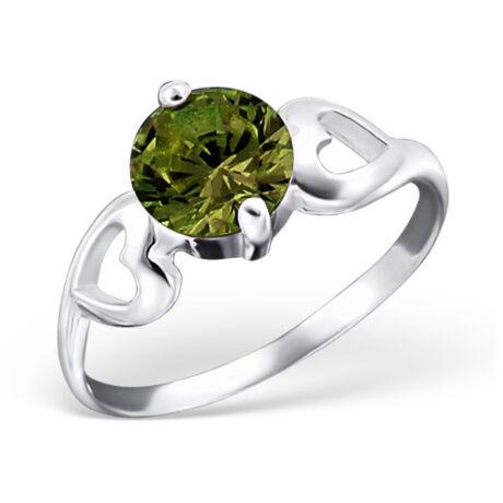 Sterling Ezüst Gyűrű Szív Mintával és Zöld Cirkóniával