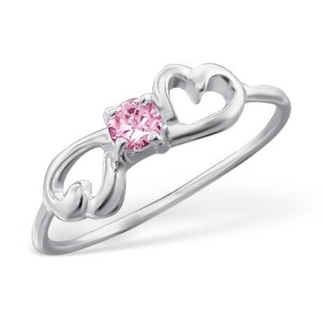 Sterling Ezüst Gyűrű Szív Mintával és Rózsaszín Cirkóniával