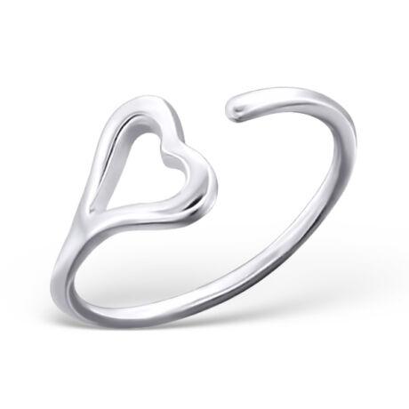 Sterling Ezüst Nyitott Gyűrű Szívvel