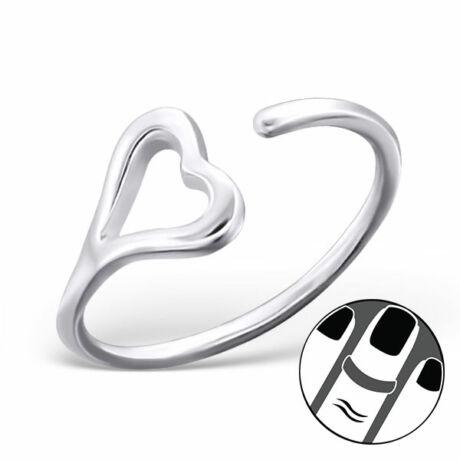 Sterling Ezüst Nyitott Midi Gyűrű Szívvel