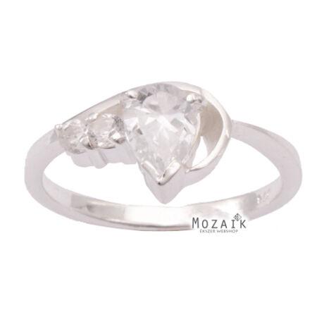 Ezüst Gyűrű Fehér Cirkónia Kővel