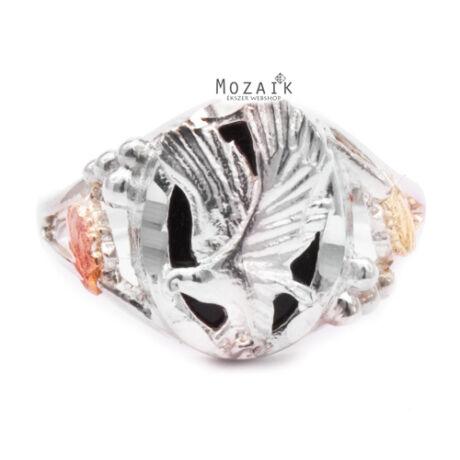 Ezüst és 12K Arany Gyűrű Sassal