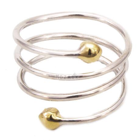 Mágneses Spirál Gyűrű Ezüst és Arany Bevonattal