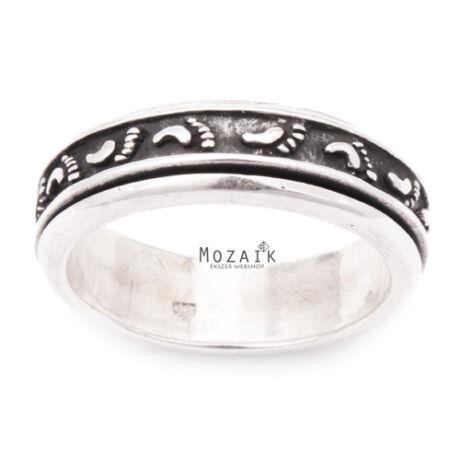 Ezüst Gyűrű Lábnyomokkal, Forgatható Betéttel