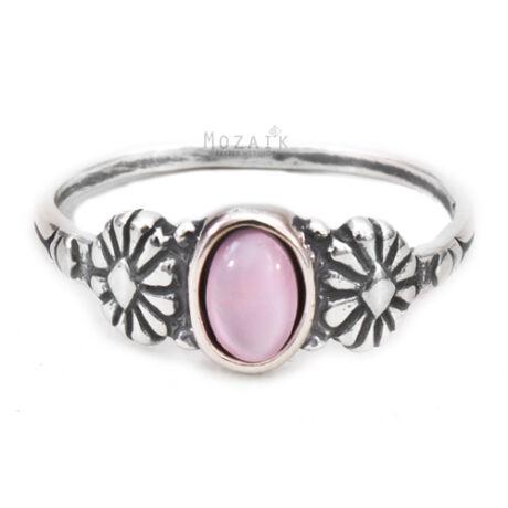 Ezüst Gyűrű Rózsaszín Gyöngyházzal