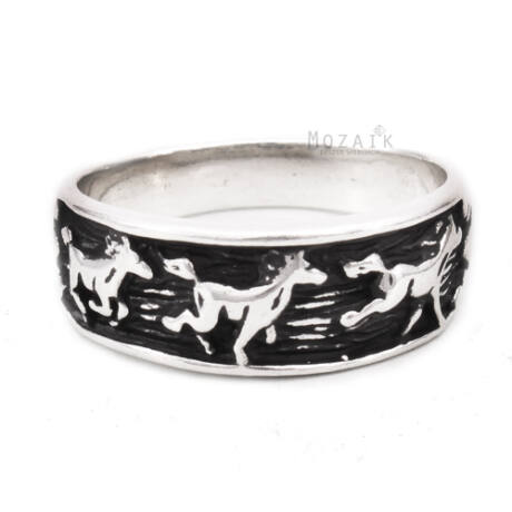 Ezüst Gyűrű Lovakkal