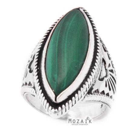 Nagyméretű Ezüst Pecsétgyűrű Malachittal
