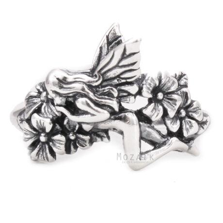 Ezüst Gyűrű – Angyalka Virágokkal
