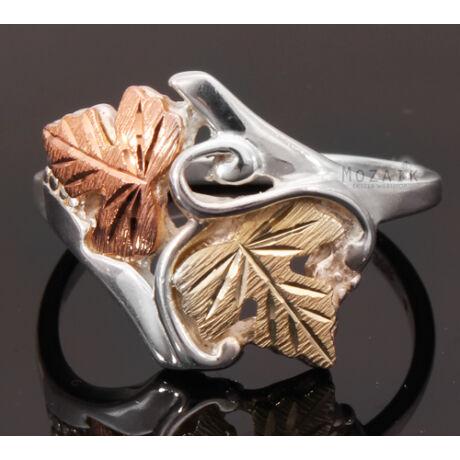 Ezüst Gyűrű 12K Arany Levelekkel