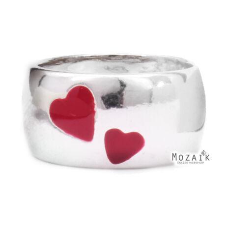 Ezüst Karikagyűrű Piros Tűzzománccal