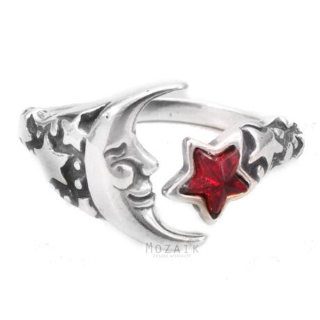 Állítható Ezüst Hold – Csillag Gyűrű Kristállyal