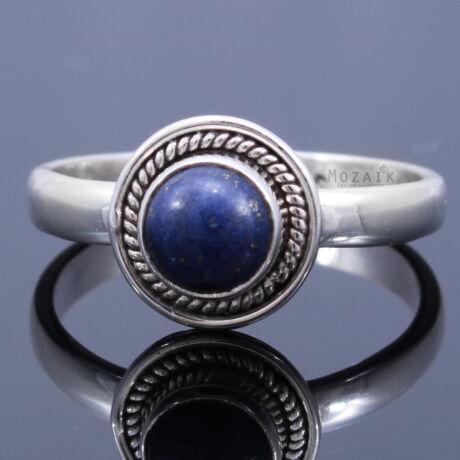 Sterling Ezüst Kaboson Gyűrű Lápisz Lazulival