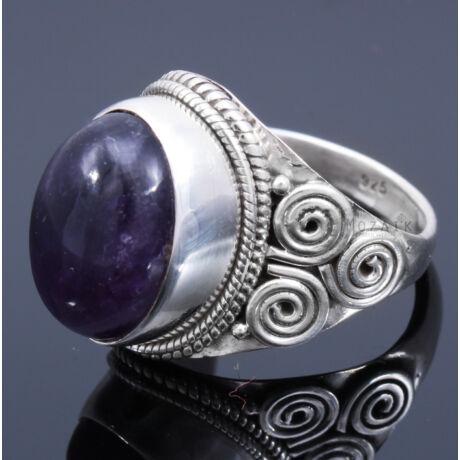 Sterling Ezüst Kaboson Gyűrű Ametiszttel