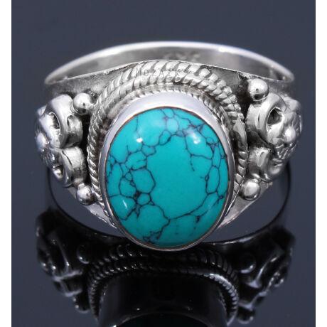 Sterling Ezüst Kaboson Gyűrű Türkizzel