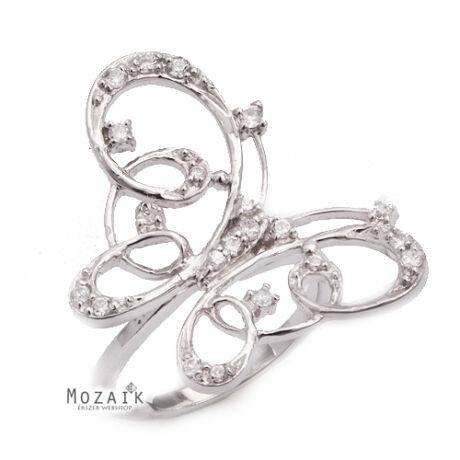 Ezüst Pillangó Gyűrű Cirkónia Kövekkel