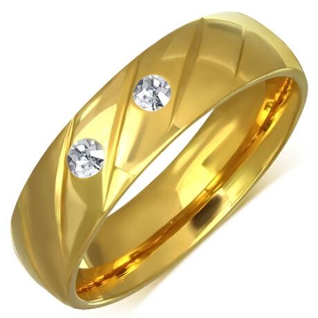 Nemesacél Karikagyűrű Aranyszínű Bevonattal és Cirkóniával