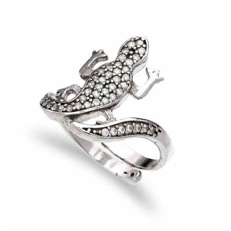 Sterling Ezüst Gyík Gyűrű Állítható Pánttal