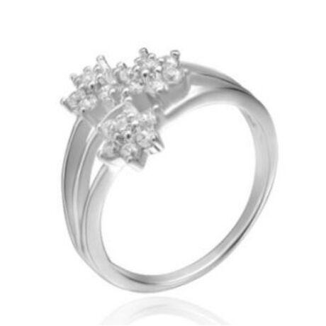 Sterling Ezüst Virágos Gyűrű Cirkónia Kövekkel