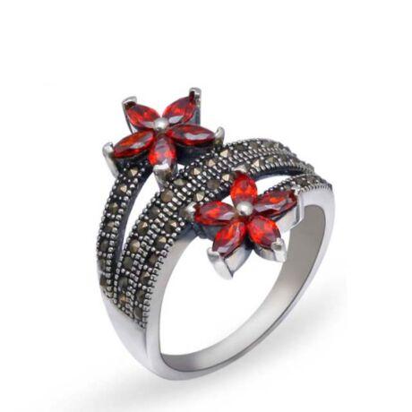 Sterling Ezüst Virágos Gyűrű Cirkóniával és Markazittal