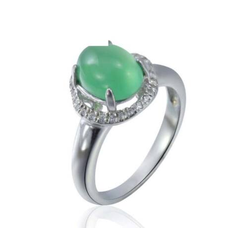 Sterling Ezüst Gyűrű Zöld Jáde Kővel és Fehér Cirkóniával