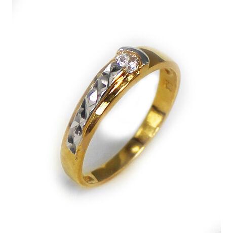 Sterling Ezüst Aranyozott Jegygyűrű Cirkóniával