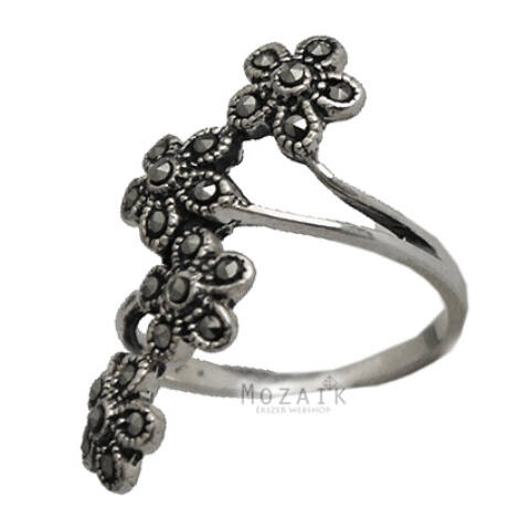 Sterling Ezüst Virágos Gyűrű Markazittal